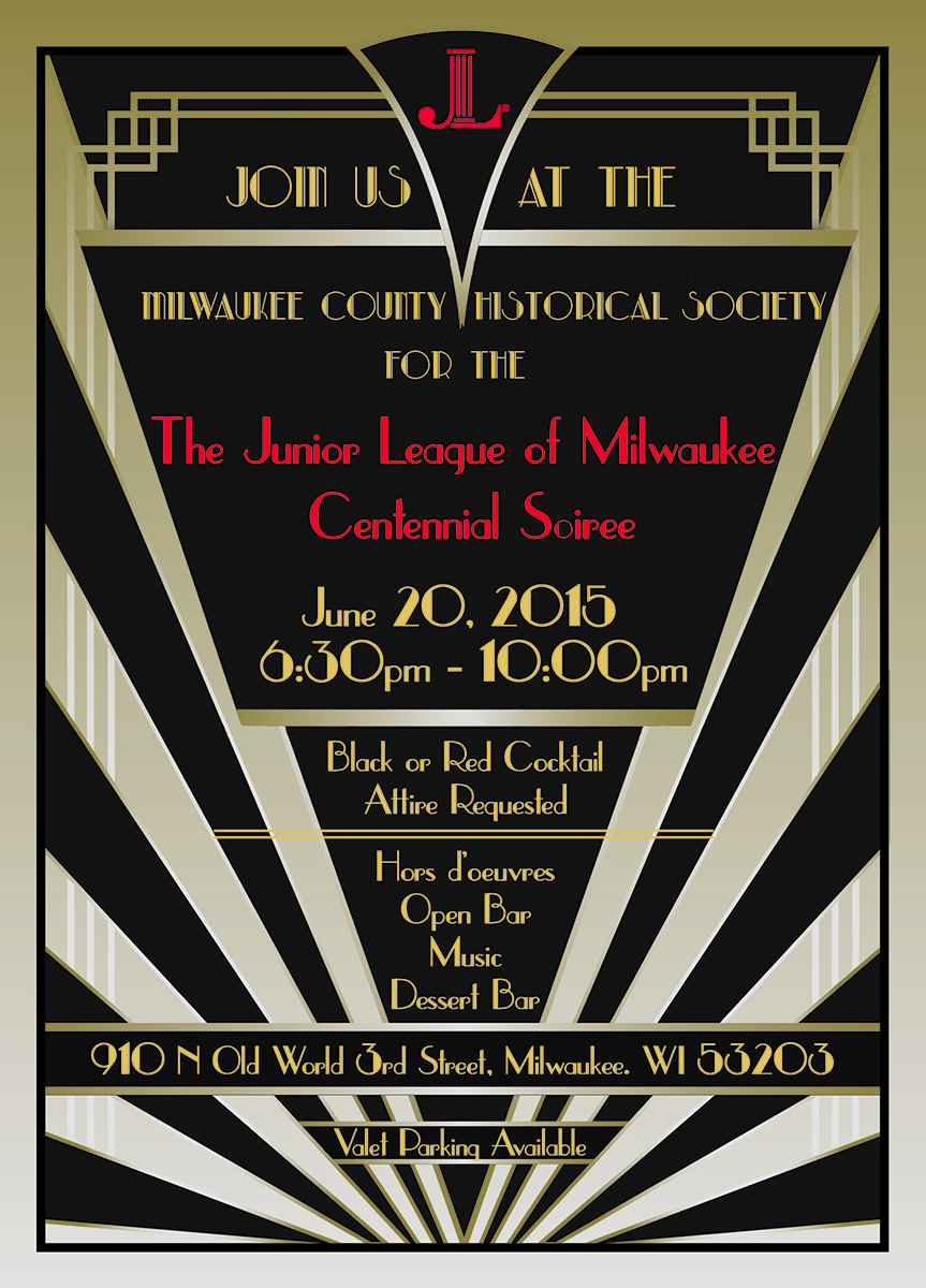 Junior League of Milwaukee Centennial Soiree Art Deco Invitation | The Majestic Vision Wedding Planning | Milwaukee Historical Society in Milwaukee, WI | www.themajesticvision.com