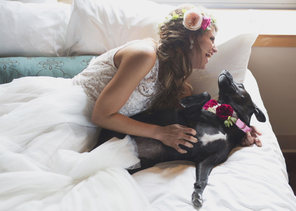 Romantic Bride with Dog Flower Girl | The Majestic Vision Wedding Planning | Iron Horse Hotel in Milwaukee, WI | www.themajesticvision.com | Shannon Wucherer Photography