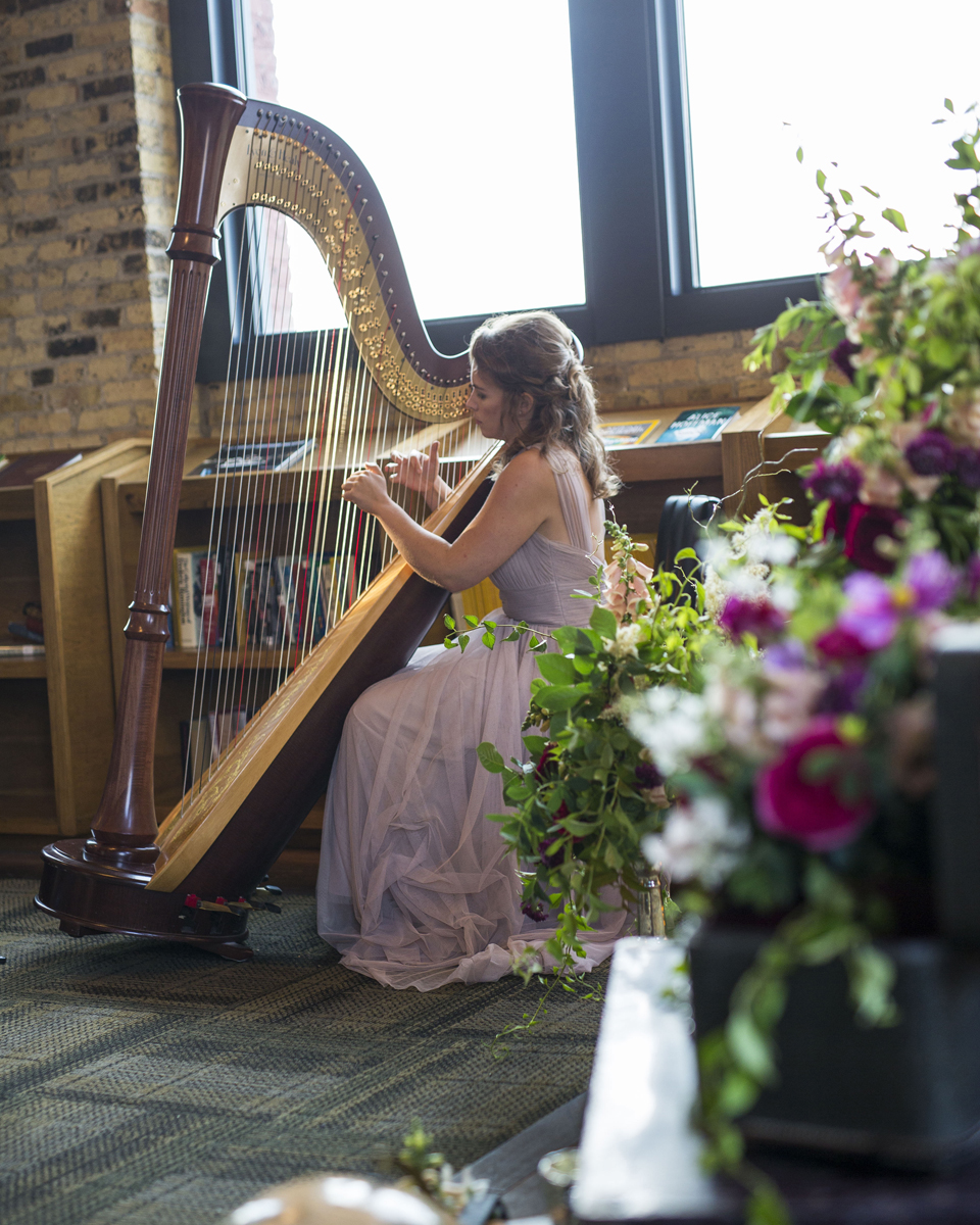 Romantic Wedding Ceremony with Bridesmaid Harpist | The Majestic Vision Wedding Planning | Iron Horse Hotel in Milwaukee, WI | www.themajesticvision.com | Shannon Wucherer Photography
