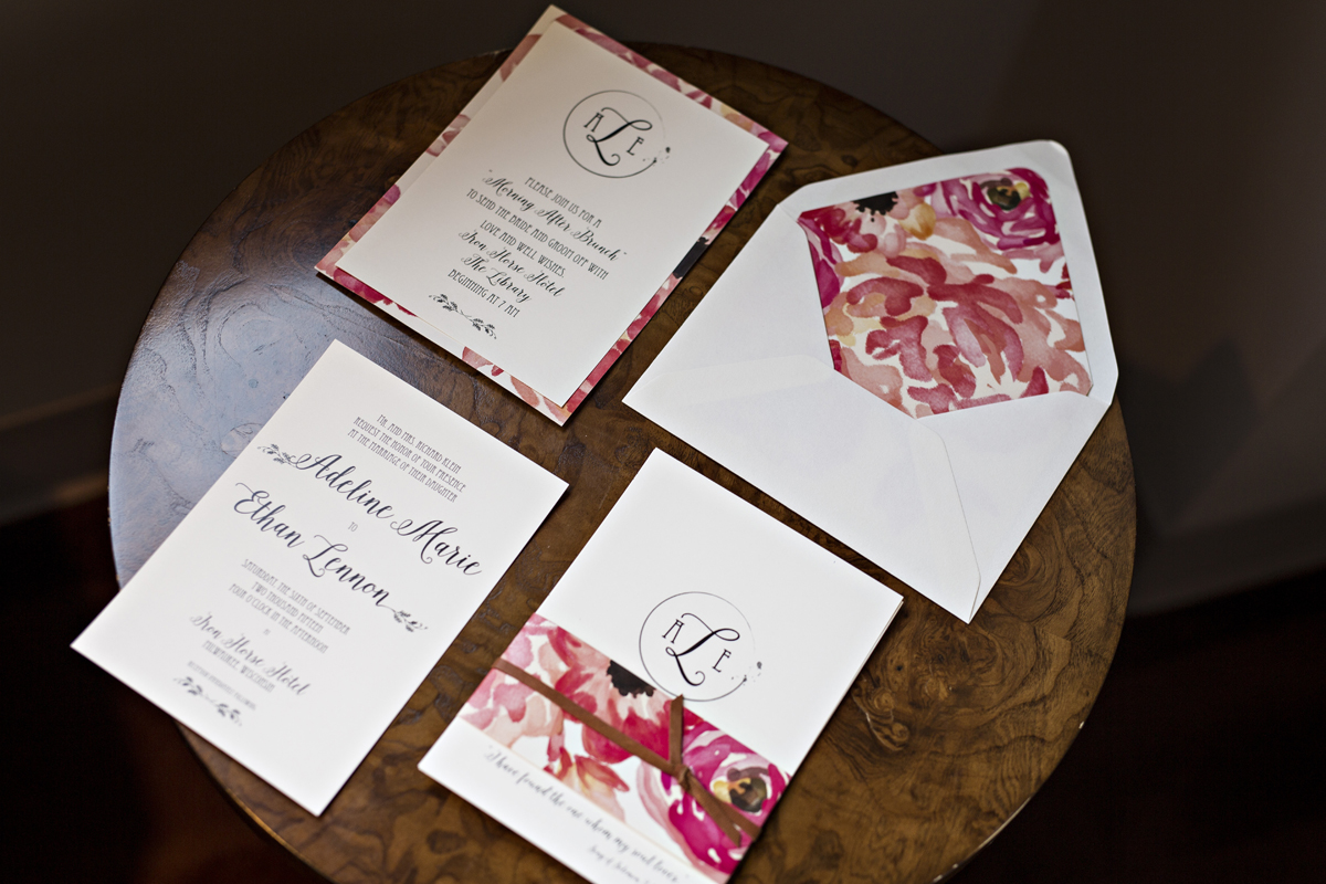 Romantic Floral and Leather Wedding Invitation Suite | The Majestic Vision Wedding Planning | Iron Horse Hotel in Milwaukee, WI | www.themajesticvision.com | Shannon Wucherer Photography