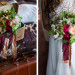 Romantic Bridal Bouquet with Red and Cream Roses at Iron Horse Hotel in Milwaukee, WI thumbnail