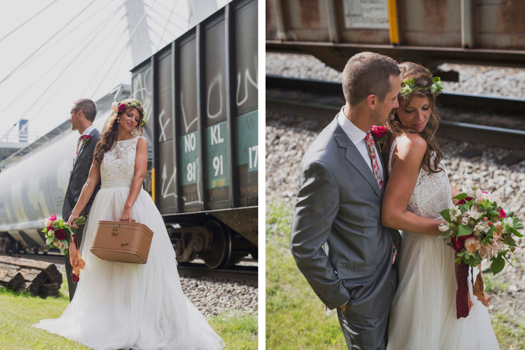 Romantic Couple Portrait with Train Car | The Majestic Vision Wedding Planning | Iron Horse Hotel in Milwaukee, WI | www.themajesticvision.com | Shannon Wucherer Photography