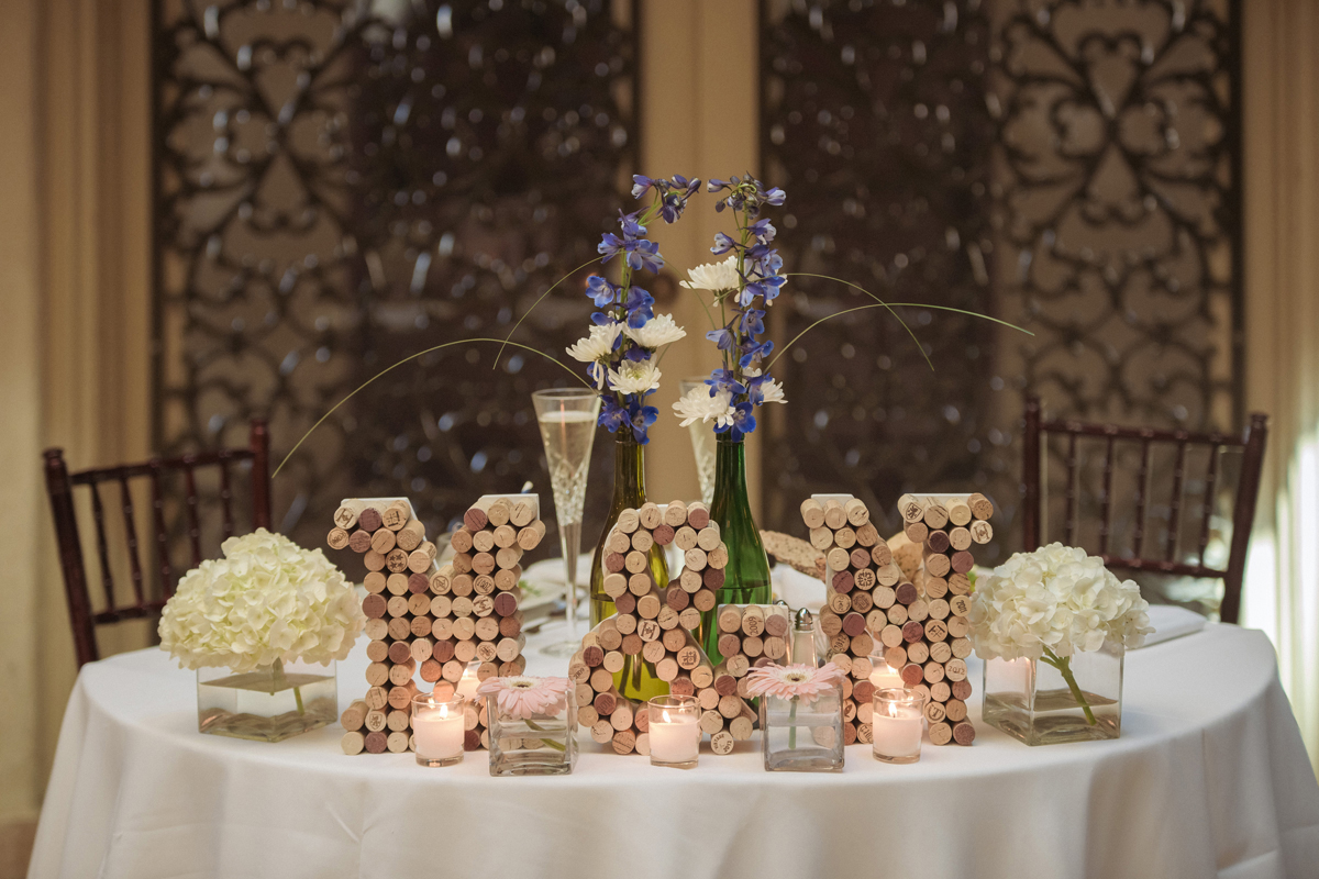 Sweetheart Table with Wine Cork Initials for Wine Themed Wedding | The Majestic Vision Wedding Planning | The Addison Boca Raton in Boca Raton, FL | www.themajesticvision.com | Robert Madrid Photography