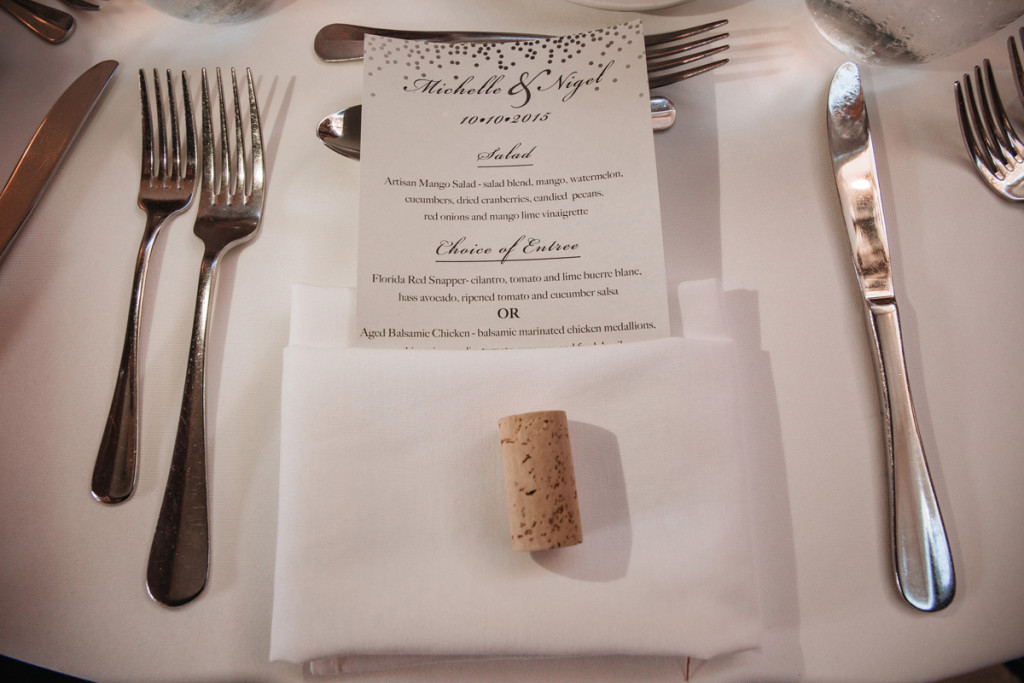 Place Setting with Wine Cork for Wine Themed Wedding | The Majestic Vision Wedding Planning | The Addison Boca Raton in Boca Raton, FL | www.themajesticvision.com | Robert Madrid Photography