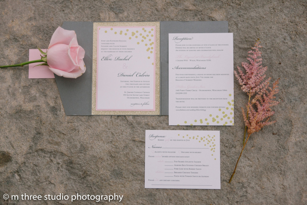 Pink and Gold Glitter Invitation | The Majestic Vision Wedding Planning | Legend of Brandybrook in Milwaukee, WI | www.themajesticvision.com | M Three Studio
