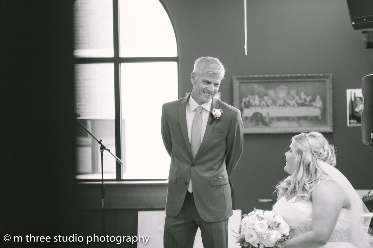 Beautiful Bride with Father Elegant Wedding Ceremony | The Majestic Vision Wedding Planning | St Jerome Catholic Church in Milwaukee, WI | www.themajesticvision.com | M Three Studio