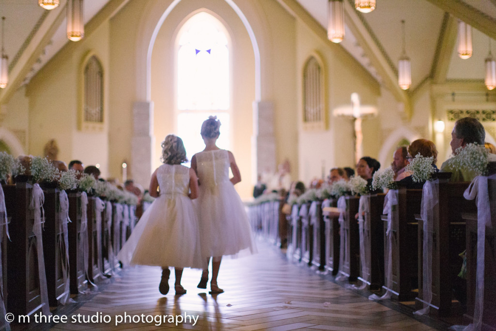 Adorable Flower Girls in Elegant Wedding Ceremony | The Majestic Vision Wedding Planning | St Jerome Catholic Church in Milwaukee, WI | www.themajesticvision.com | M Three Studio