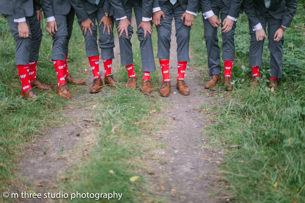 University of Wisconsin Groomsmen Socks | The Majestic Vision Wedding Planning | Legend of Brandybrook in Milwaukee, WI | www.themajesticvision.com | M Three Studio