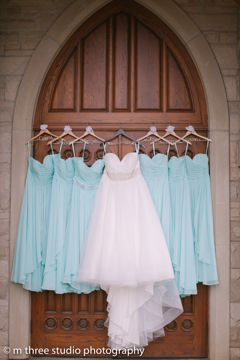 Stunning Bridal Gown and Serenity Blue Bridesmaid Dresses | The Majestic Vision Wedding Planning | Legend of Brandybrook in Milwaukee, WI | www.themajesticvision.com | M Three Studio