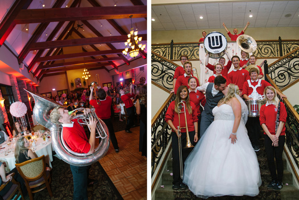 University of Wisconsin Marching Band at Rose Quartz and Serenity Blue Wedding | The Majestic Vision Wedding Planning | Legend of Brandybrook in Milwaukee, WI | www.themajesticvision.com | M Three Studio