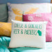 Packers Pillow at Romantic Mint and Serenity Blue Farm Wedding at Private Residence in Milwaukee, WI thumbnail