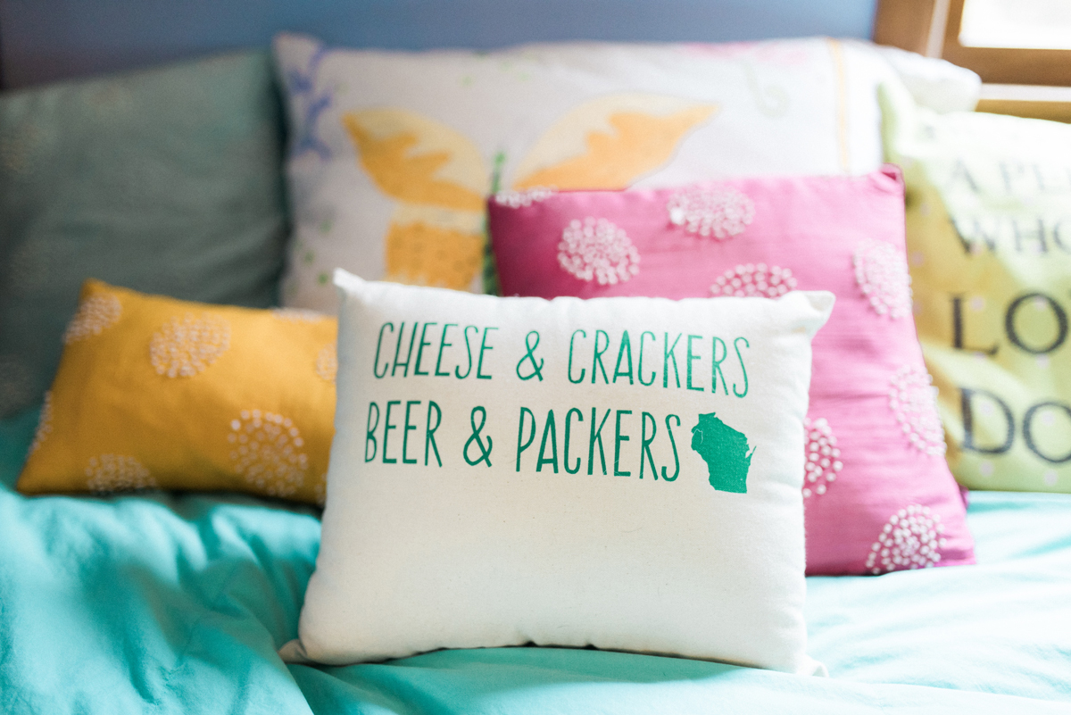 Packers Pillow at Romantic Mint and Serenity Blue Farm Wedding | The Majestic Vision Wedding Planning | Private Residence in Milwaukee, WI | www.themajesticvision.com | Elizabeth Haase Photography