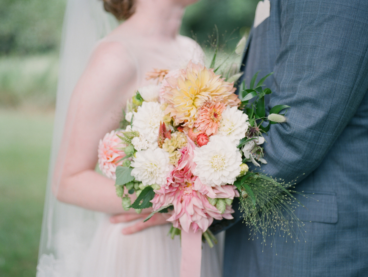 Summer Bouquet at Romantic Mint and Serenity Blue Farm Wedding | The Majestic Vision Wedding Planning | Private Residence in Milwaukee, WI | www.themajesticvision.com | Elizabeth Haase Photography