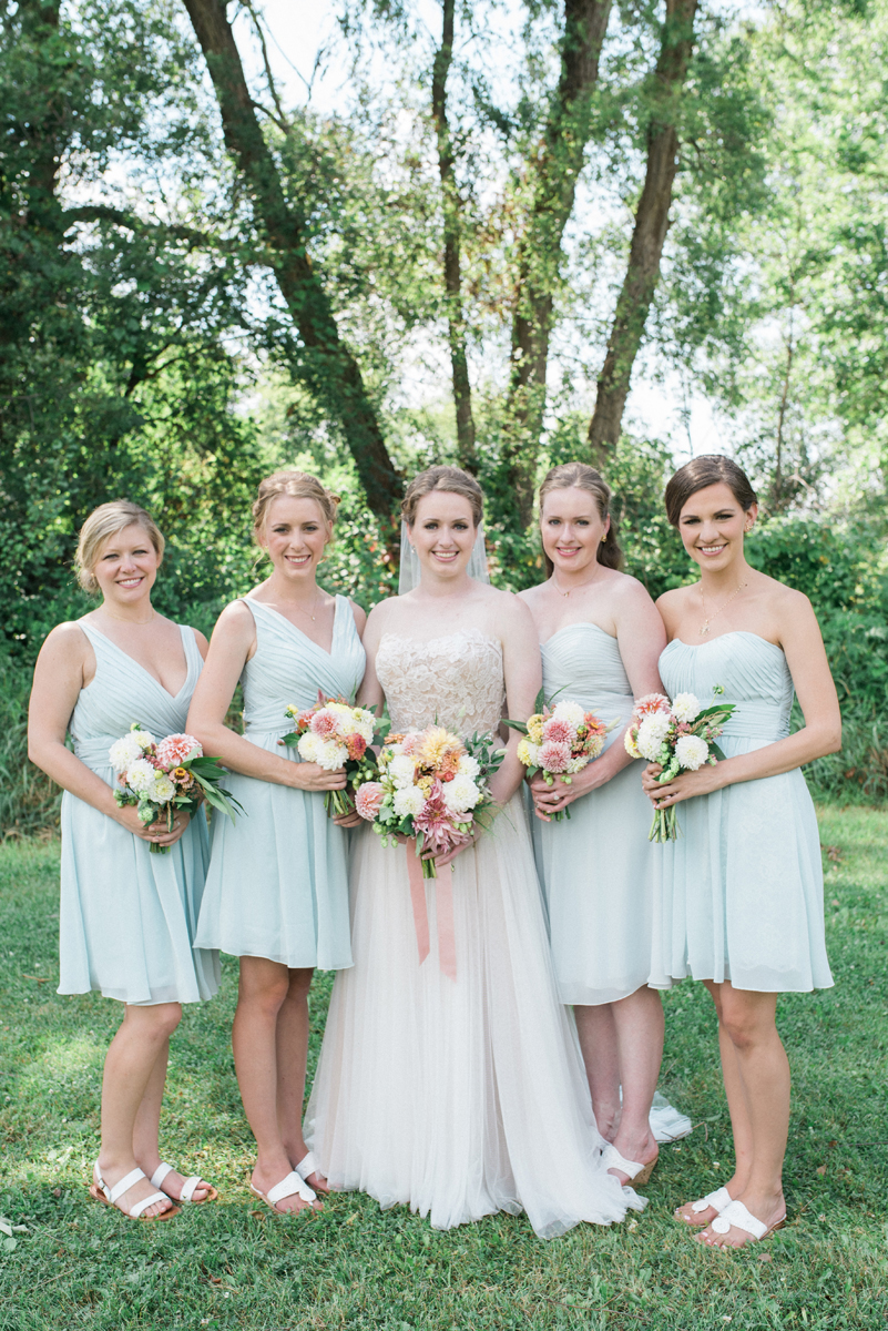 Lovely Bridesmaids at Romantic Mint and Serenity Blue Farm Wedding | The Majestic Vision Wedding Planning | Private Residence in Milwaukee, WI | www.themajesticvision.com | Elizabeth Haase Photography
