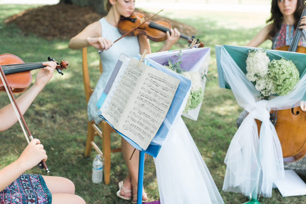 Ceremony Musicians at Romantic Mint and Serenity Blue Farm Wedding   The Majestic Vision Wedding Planning   Private Residence in Milwaukee, WI   www.themajesticvision.com   Elizabeth Haase Photography