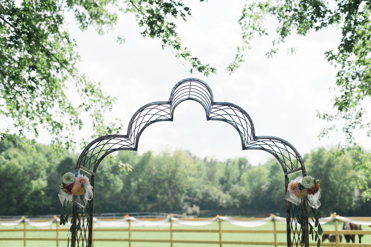 Ceremony Arch at Romantic Mint and Serenity Blue Farm Wedding | The Majestic Vision Wedding Planning | Private Residence in Milwaukee, WI | www.themajesticvision.com | Elizabeth Haase Photography
