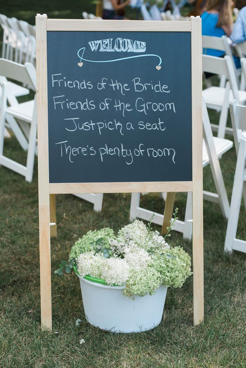 Welcome Ceremony Sign at Romantic Mint and Serenity Blue Farm Wedding | The Majestic Vision Wedding Planning | Private Residence in Milwaukee, WI | www.themajesticvision.com | Elizabeth Haase Photography