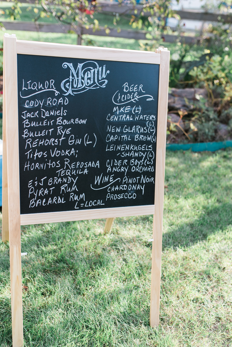 Bar Menu Sign at Romantic Mint and Serenity Blue Farm Wedding | The Majestic Vision Wedding Planning | Private Residence in Milwaukee, WI | www.themajesticvision.com | Elizabeth Haase Photography