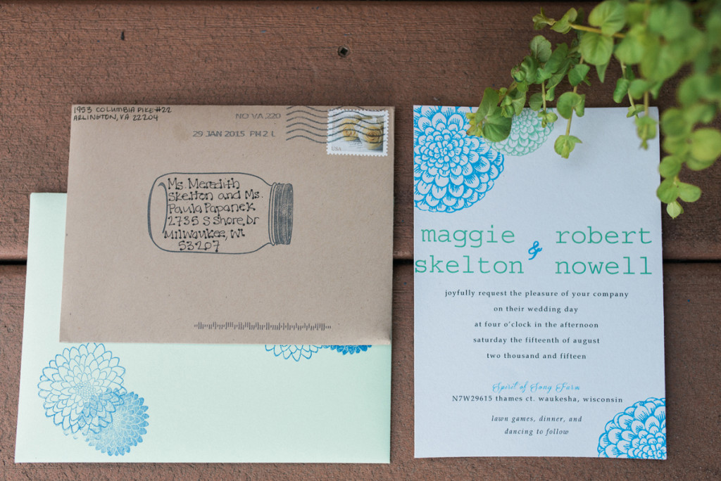Hand-Stamped Invitation Suite for Romantic Mint and Serenity Blue Farm Wedding | The Majestic Vision Wedding Planning | Private Residence in Milwaukee, WI | www.themajesticvision.com | Elizabeth Haase Photography