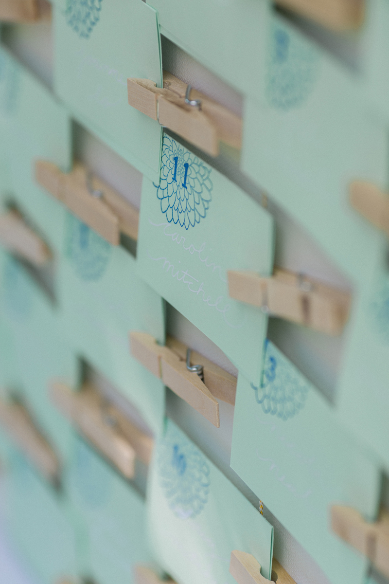Hand-Stamped Seating Chart at Romantic Mint and Serenity Blue Farm Wedding | The Majestic Vision Wedding Planning | Private Residence in Milwaukee, WI | www.themajesticvision.com | Elizabeth Haase Photography