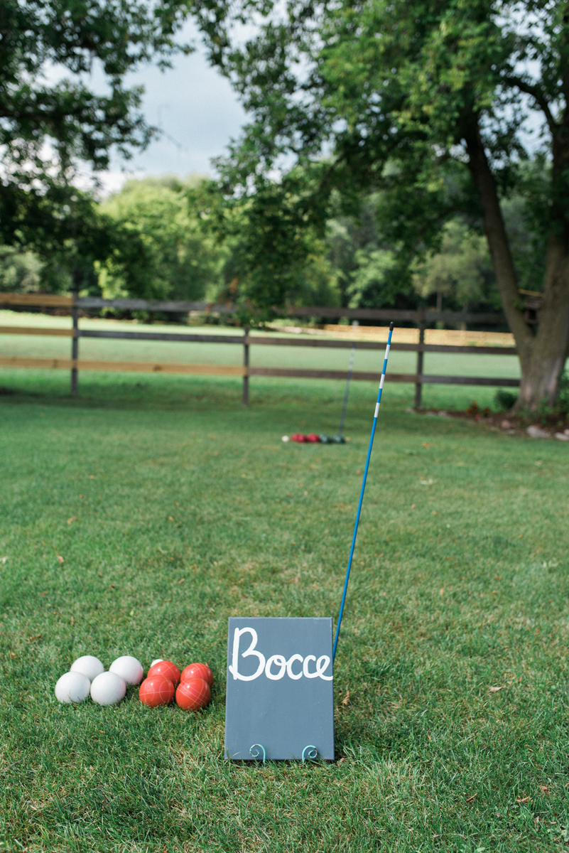 Bocce Ball Court at Romantic Mint and Serenity Blue Farm Wedding | The Majestic Vision Wedding Planning | Private Residence in Milwaukee, WI | www.themajesticvision.com | Elizabeth Haase Photography