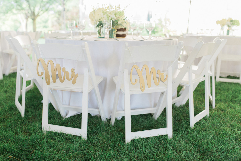 Bride and Groom Chair Signs at Romantic Mint and Serenity Blue Farm Wedding   The Majestic Vision Wedding Planning   Private Residence in Milwaukee, WI   www.themajesticvision.com   Elizabeth Haase Photography