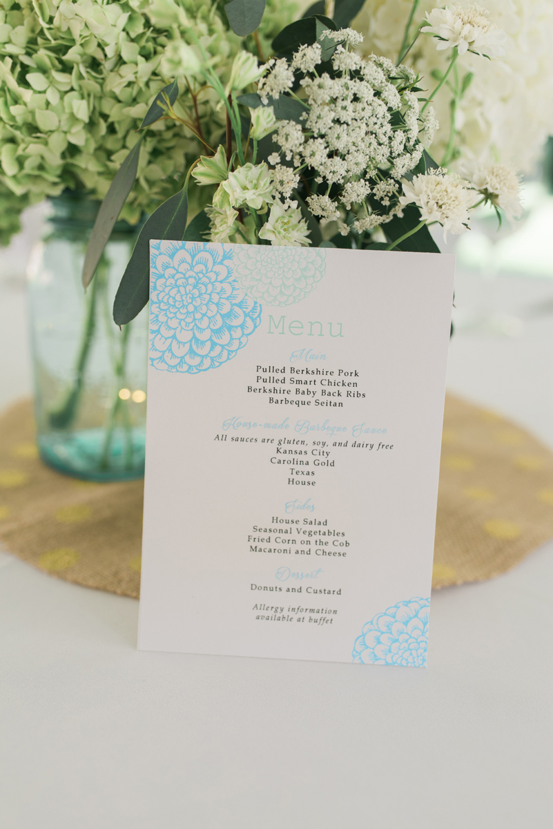 Hand-Stamped Menu Card at Romantic Mint and Serenity Blue Farm Wedding | The Majestic Vision Wedding Planning | Private Residence in Milwaukee, WI | www.themajesticvision.com | Elizabeth Haase Photography