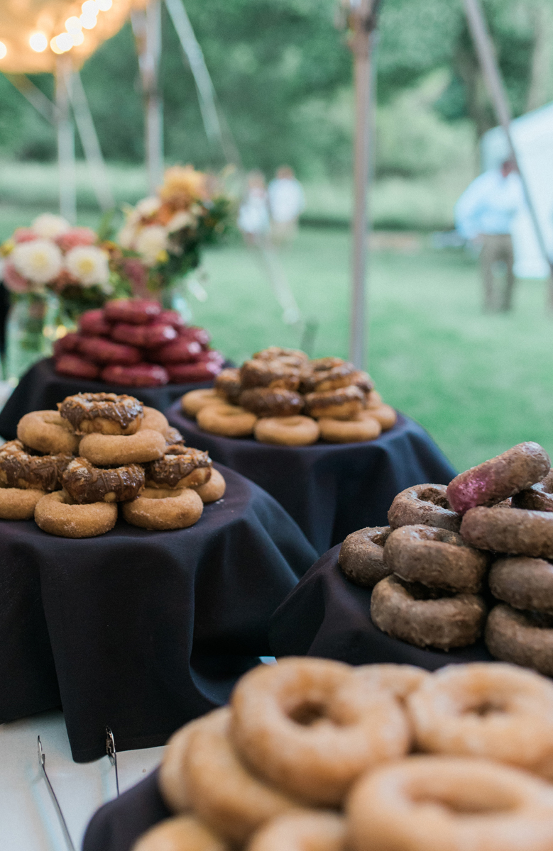 Donut Display at Romantic Mint and Serenity Blue Farm Wedding | The Majestic Vision Wedding Planning | Private Residence in Milwaukee, WI | www.themajesticvision.com | Elizabeth Haase Photography