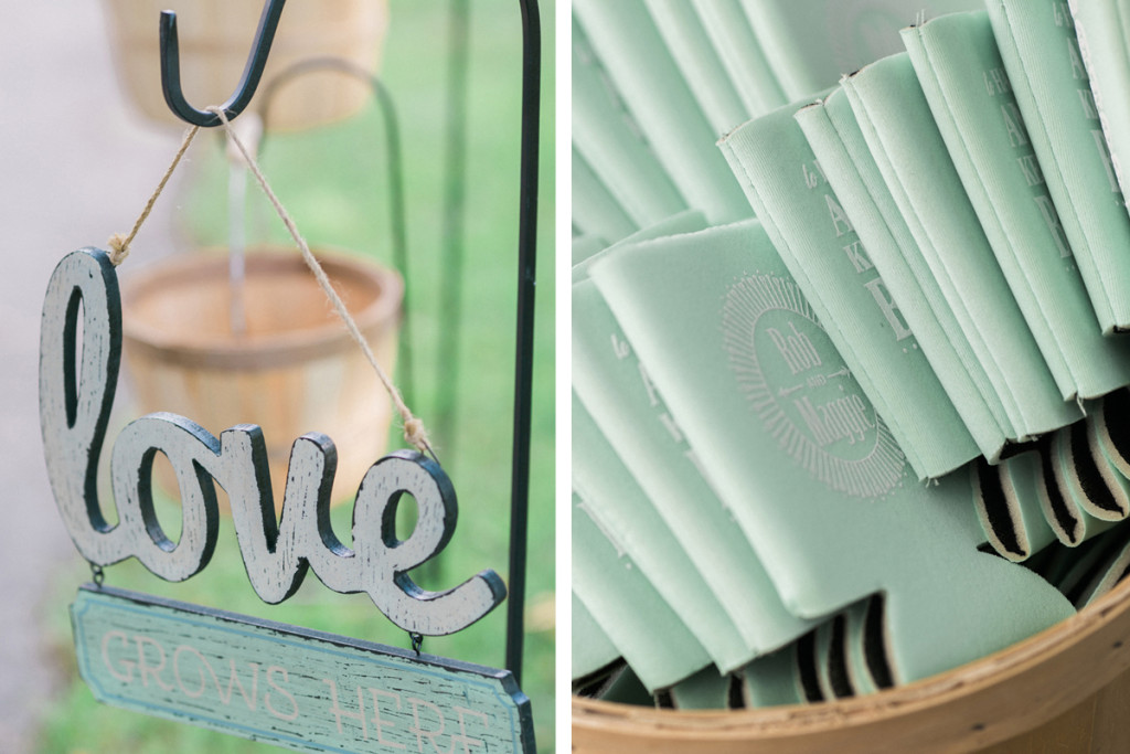 Guest Favor Koozies at Romantic Mint and Serenity Blue Farm Wedding   The Majestic Vision Wedding Planning   Private Residence in Milwaukee, WI   www.themajesticvision.com   Elizabeth Haase Photography