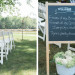 Ceremony Welcome Sign at Romantic Mint and Serenity Blue Farm Wedding at Private Residence in Milwaukee, WI thumbnail