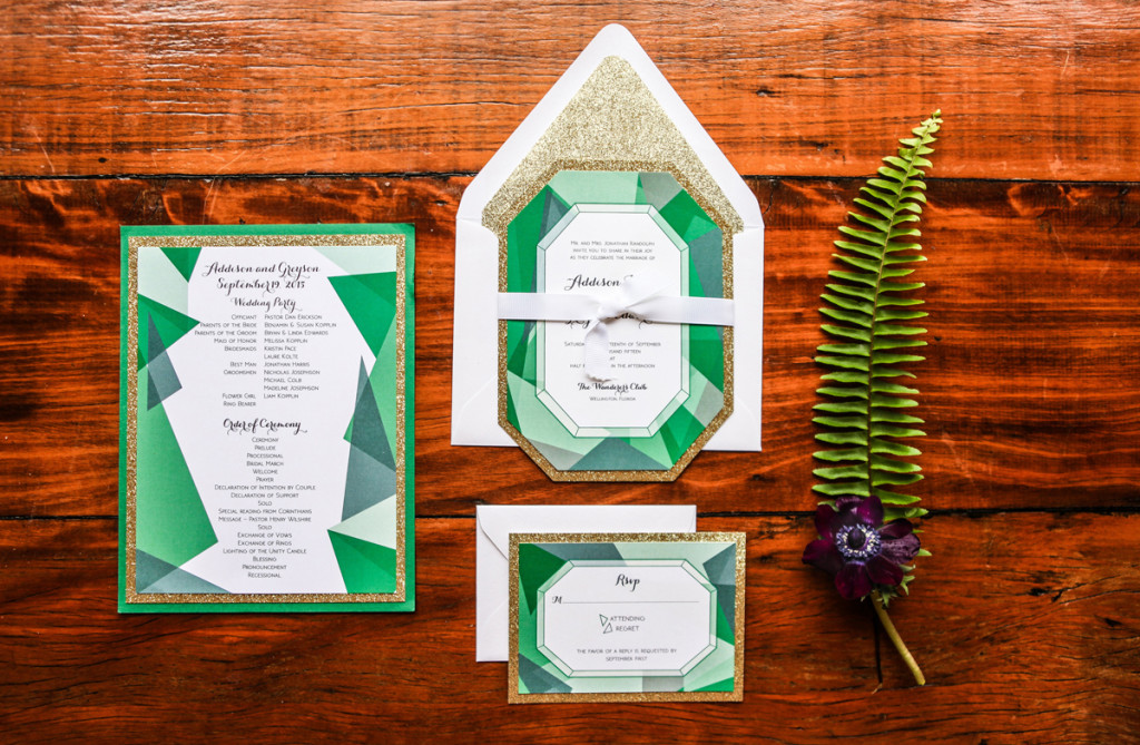 Gemstone Invitation Suite for Whimsical Emerald and Amethyst Wedding | The Majestic Vision Wedding Planning | The Wanderers Club in Wellington, FL | www.themajesticvision.com | Krystal Zaskey Photography