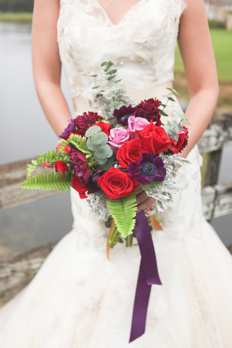 Rose and Poppy Bouquet for Whimsical Emerald and Amethyst Wedding | The Majestic Vision Wedding Planning | The Wanderers Club in Wellington, FL | www.themajesticvision.com | Krystal Zaskey Photography