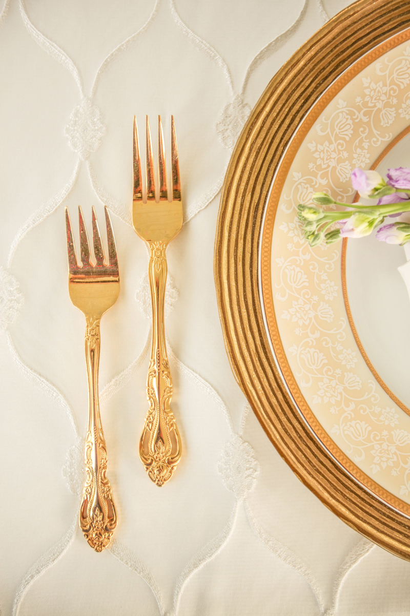 Gold Flatware for Whimsical Emerald and Amethyst Wedding | The Majestic Vision Wedding Planning | The Wanderers Club in Wellington, FL | www.themajesticvision.com | Krystal Zaskey Photography