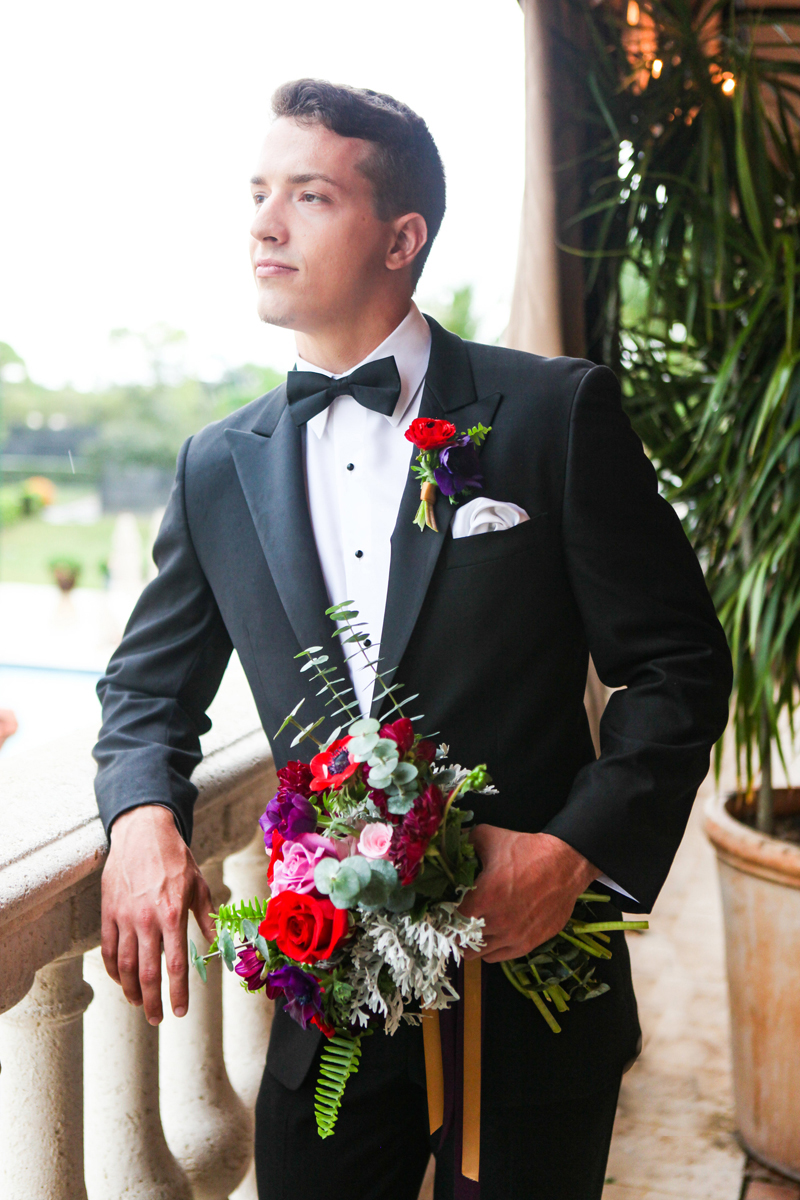 Handsome Groom with Bridal Bouquet at Whimsical Emerald and Amethyst Wedding | The Majestic Vision Wedding Planning | The Wanderers Club in Wellington, FL | www.themajesticvision.com | Krystal Zaskey Photography