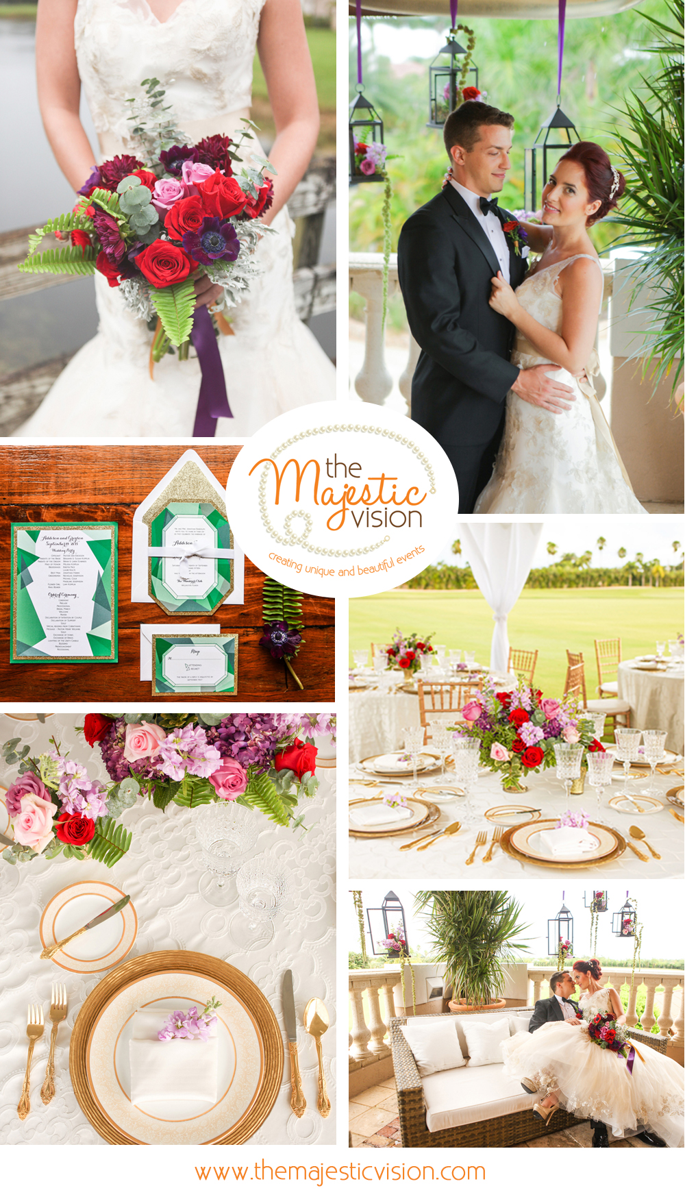 Whimsical Emerald and Amethyst Wedding | The Majestic Vision Wedding Planning | The Wanderers Club in Wellington, FL | www.themajesticvision.com | Krystal Zaskey Photography