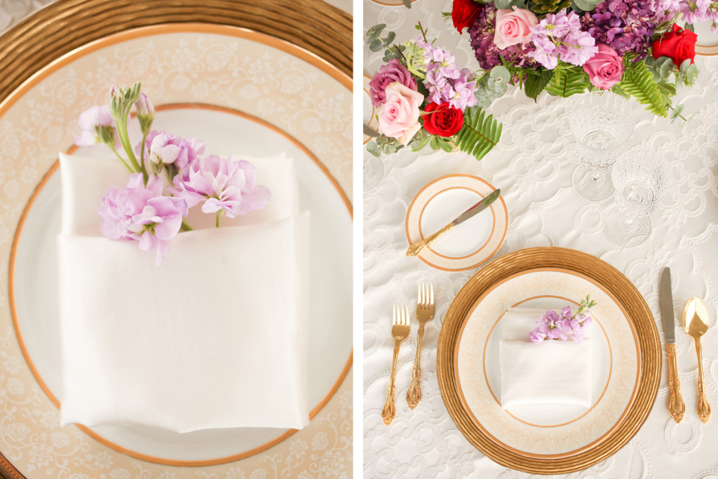 Elegant Place Setting for Whimsical Emerald and Amethyst Wedding | The Majestic Vision Wedding Planning | The Wanderers Club in Wellington, FL | www.themajesticvision.com | Krystal Zaskey Photography