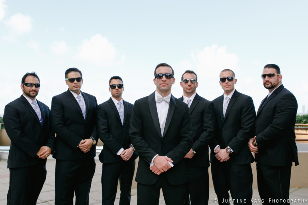 Groomsmen at Modern Black Tie Wedding | The Majestic Vision Palm Beach Wedding Planning | Briza on the Bay in Miami, FL | www.themajesticvision.com | Justine Kang Photography