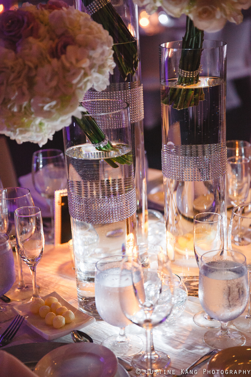 White Rose Wedding Centerpieces at Modern Black Tie Wedding | The Majestic Vision Palm Beach Wedding Planning | Briza on the Bay in Miami, FL | www.themajesticvision.com | Justine Kang Photography