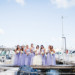 Bridesmaids in Purples Dresses at Modern Black Tie Wedding at Briza on the Bay in Miami, FL thumbnail