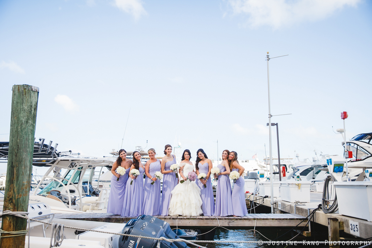 Bridesmaids in Purples Dresses at Modern Black Tie Wedding | The Majestic Vision Palm Beach Wedding Planning | Briza on the Bay in Miami, FL | www.themajesticvision.com | Justine Kang Photography